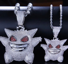 Load image into Gallery viewer, MP Mega Pokemon Gengar iced CZ diamond pendant