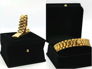 MP RLX rolex watch chain bracelet 18K GP