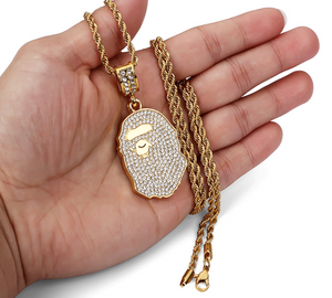 MP BAPE CZ diamond pendant & necklace (Regular size)