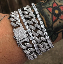Load image into Gallery viewer, MP Cuban link Iced out CZ diamond 17mm bracelet