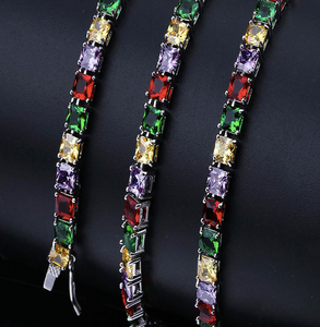 MP multi-colors cz square diamond necklace