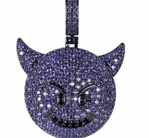 MP emoji evil iced out pendant