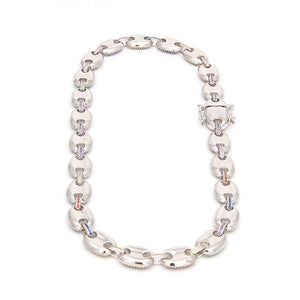 MP Gucci link Multi-Colours Iced out chain necklace