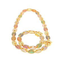 Load image into Gallery viewer, MP Gucci link Multi-Colours Iced out chain necklace