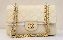 Load image into Gallery viewer, Vintage Chanel Quilted lambskin beige 25cm bag