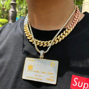 MP iced out Jackboy Huncho Credit card pendant & necklace