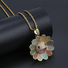 Load image into Gallery viewer, MP iced out Takashi Murakami CZ diamond spinning pendant & necklace