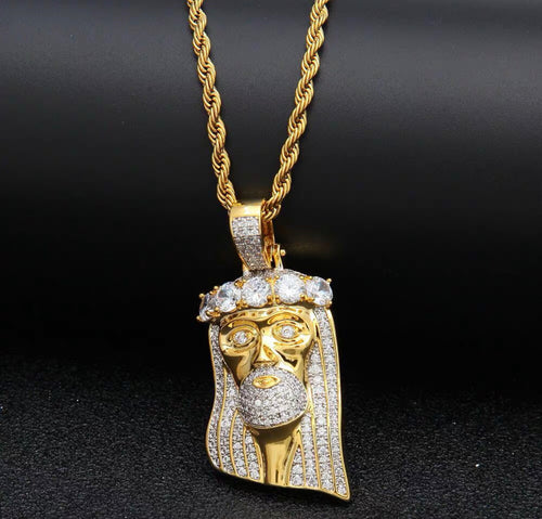 MP JESUS PIECE iced diamond cut  pendant & necklace