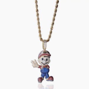 MP iced out Mario cz diamonds pendant & necklace