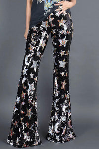 Shining Stars Sequined Flare Pants - cheapgoodsonline.com