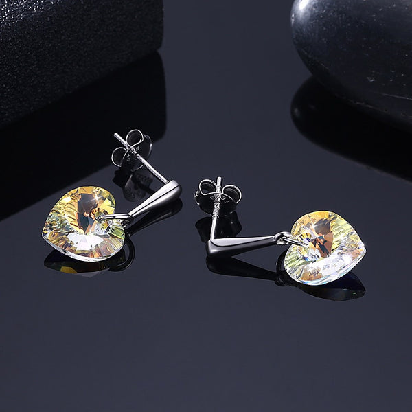 Swarovski Elements Hanging Heart Shaped Crystal S925 Sterling Silver Stud Earrings - cheapgoodsonline.com