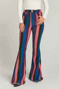 Zip Up Striped Bell Jeans - cheapgoodsonline.com