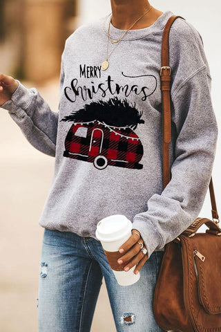 Gray Merry Christmas Letters Print Pullover Sweatshirt - cheapgoodsonline.com