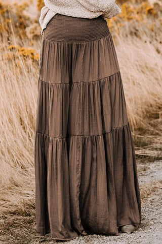 Pocus Smocked Tiered Maxi Skirt - cheapgoodsonline.com