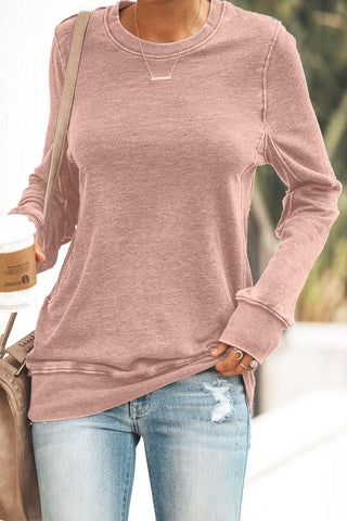 Pink Crewneck Long Sleeve Casual Solid Sweatshirt - cheapgoodsonline.com