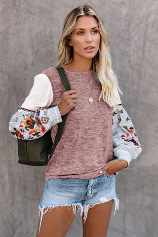 Pink Contrast Printed Sleeve Knit Sweatshirts - cheapgoodsonline.com