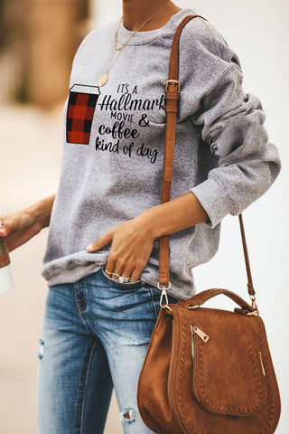 Coffee and Slogan Print Pullover Sweatshirt - cheapgoodsonline.com