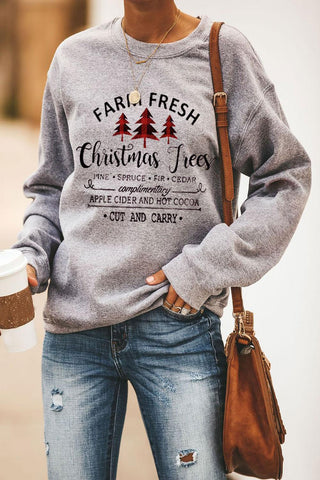 Christmas Tree Letters Print Pullover Sweatshirt - cheapgoodsonline.com