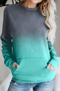 Blue Ombre Kangroo Pocket Pullover Sweatshirt - cheapgoodsonline.com