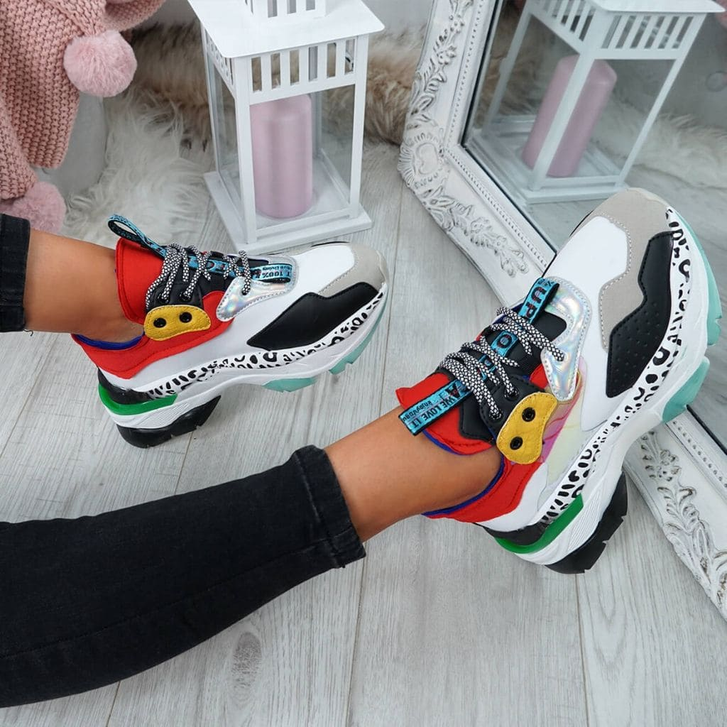 baskets synthétiques multicolore sneaker femme