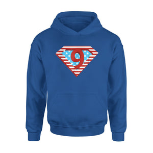 American Flag 9 Years Old Superhero 9th Birthday Premium Hoodie