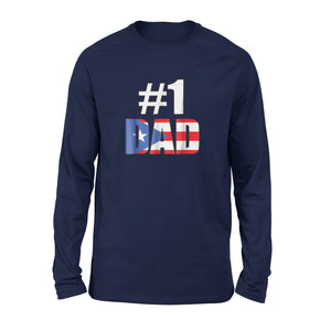 #1 Dad Puerto Rico Fathers Day Holiday Long Sleeve T-Shirt