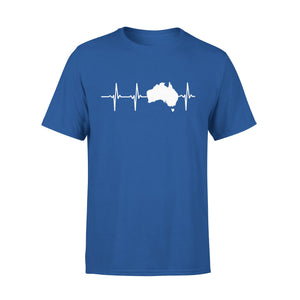 Mens Cotton Crew Neck T-Shirt - Australia Heartbeat 01