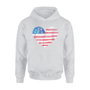 American Flag Love Heart 4th Of July Premium Hoodie