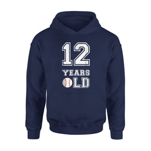 12 Years Old Baseball Birthday Boy Hoodie