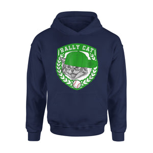 Baseball Green And White Shield And Cap Rally Cat Hoodie