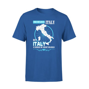 Mens Cotton Crew Neck T-Shirt - Italy Is Where My Heart Belongs 01