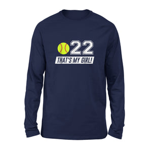 #22 Softball Mom Shirt, Softball Dad Shirt Long Sleeve T-Shirt