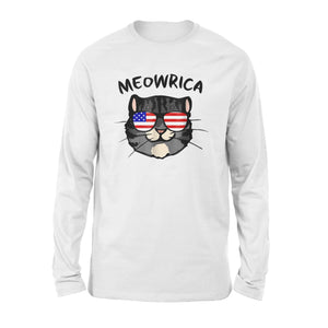 Cool American Flag Cat Shades 4th Of July Meowrica Premium Long Sleeve T-Shirt