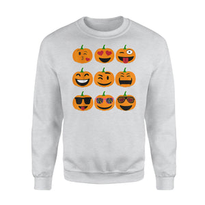 Emoji Pumpkin Funny Faces Halloween Thanksgiving Sweatshirt