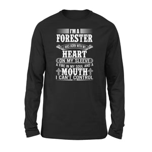 Mens Cotton Long Sleeve T-Shirt - Im A Forester 01