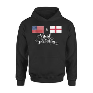 American + English Mixed To Perfection Flag Premium Hoodie