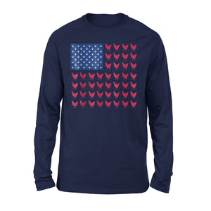Chicken Paw Print Farmer American Flag Premium Long Sleeve T-Shirt