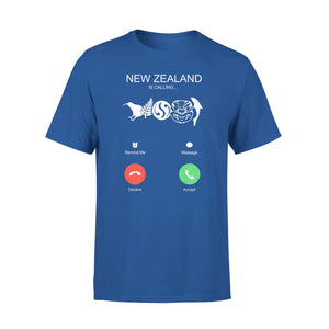 Mens Cotton Crew Neck T-Shirt - New Zealand Is Calling 01
