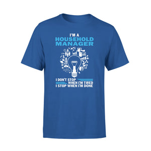 Mens Cotton Crew Neck T-Shirt - Im A Houseold Manager