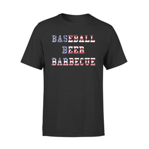 Baseball, Beer, Barbecue Usa Flag Letter T-Shirt