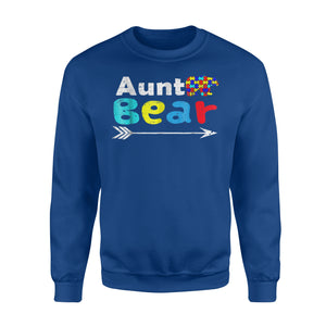 Aunt Bear Family Autism Awareness Grass Sweatshirt