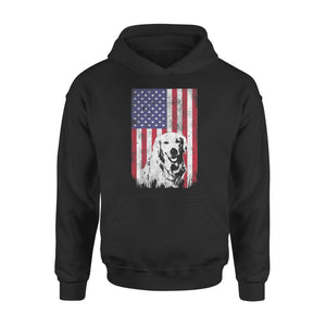 4th Of July Golden Retriever American Flag Premium Hoodie