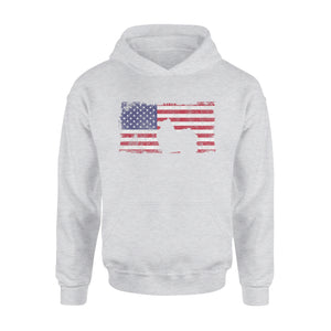 4th Of July Pomeranian Dog American Flag Premium Hoodie