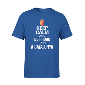 Mens Cotton Crew Neck T-Shirt - Keep Calm And Be Proud To Be A Catalunya  01