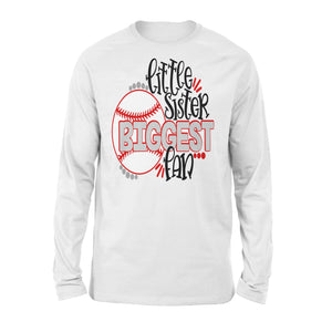 Baseball Little Sister Biggest Fan Long Sleeve T-Shirt