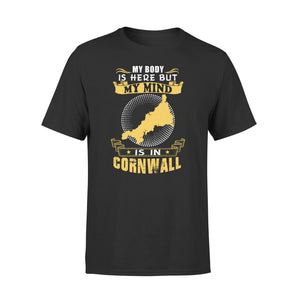 Mens Cotton Crew Neck T-Shirt - My Mind Is In Cornwall 01