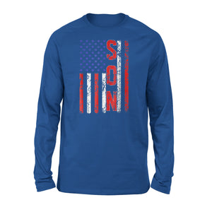 Cool Son American Flag Birthday Fathers Day Premium Long Sleeve T-Shirt