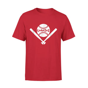 6432 Baseball Double Play Mom Dad 6+4+3=2 Math T-Shirt