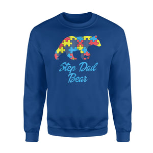 Autism Step Dad Bear Silhouette Awareness Support Sweatshirt