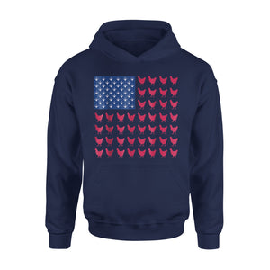 Chicken Paw Print Farmer American Flag Independence Day Premium Hoodie